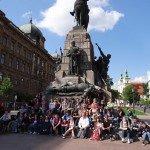 Devant le monument de la bataille de Grunwald